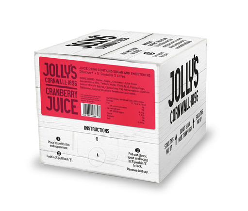 Jolly's post mix cranberry juice drink