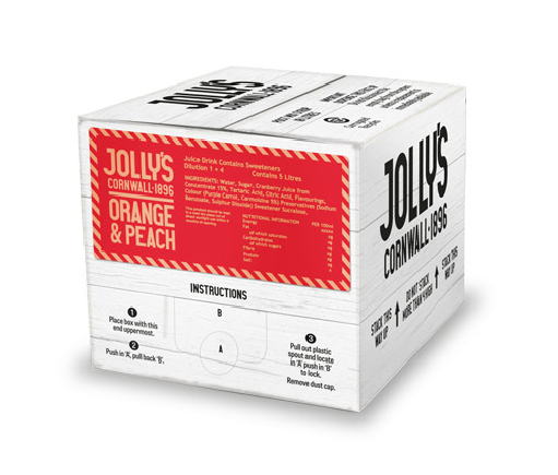Jolly's post mix orange and peach drink